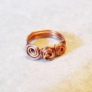 Handmade Hammered Copper Swirl Ring - Size 6.5